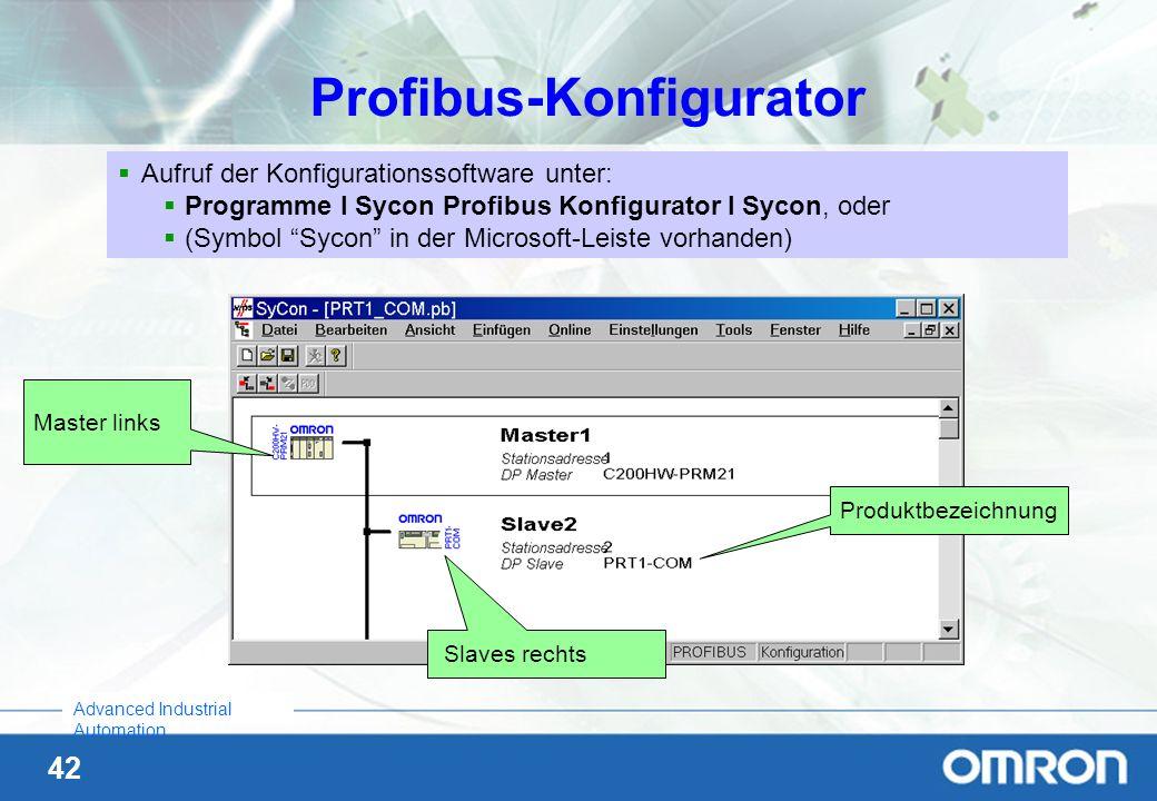 42 Advanced Industrial Automation Profibus-Konfigurator Aufruf der Konfigurationssoftware unter: Programme I Sycon Profibus Konfigurator I Sycon, oder