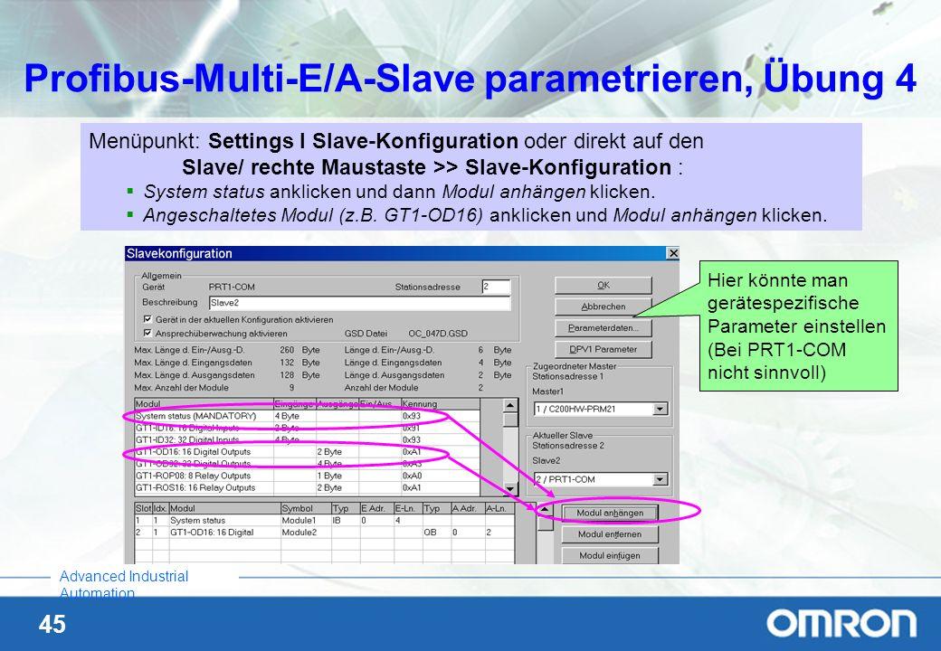 45 Advanced Industrial Automation Profibus-Multi-E/A-Slave parametrieren, Übung 4 Menüpunkt: Settings I Slave-Konfiguration oder direkt auf den Slave/