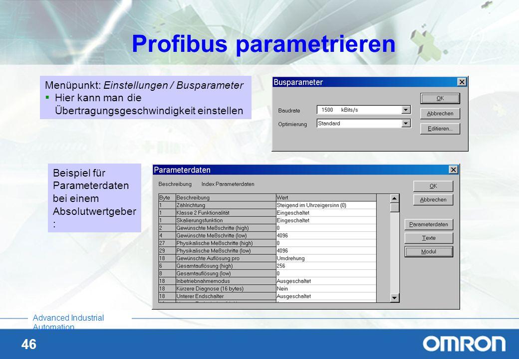 46 Advanced Industrial Automation Profibus parametrieren Menüpunkt: Einstellungen / Busparameter Hier kann man die Übertragungsgeschwindigkeit einstel