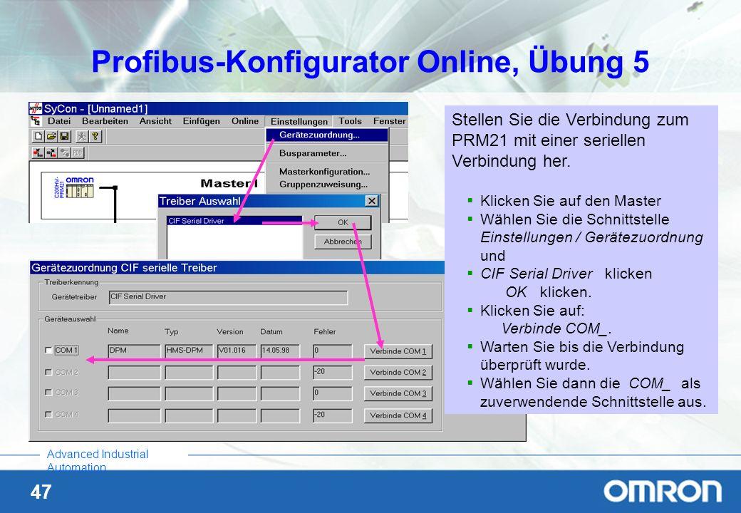 47 Advanced Industrial Automation Profibus-Konfigurator Online, Übung 5 Stellen Sie die Verbindung zum PRM21 mit einer seriellen Verbindung her. Klick