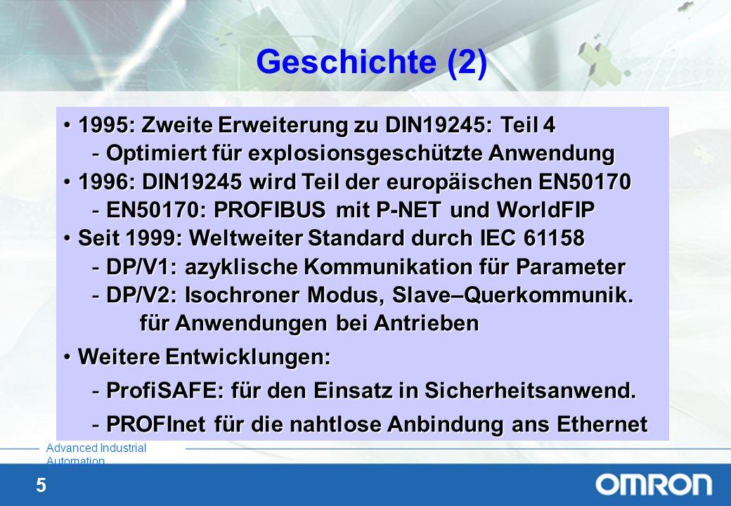 5 Advanced Industrial Automation Geschichte (2) 1995: Zweite Erweiterung zu DIN19245: Teil 41995: Zweite Erweiterung zu DIN19245: Teil 4 -Optimiert fü