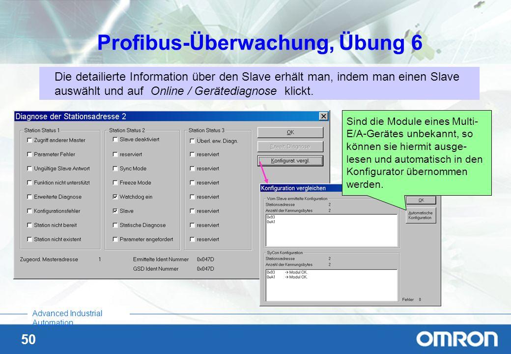 50 Advanced Industrial Automation Profibus-Überwachung, Übung 6 Die detailierte Information über den Slave erhält man, indem man einen Slave auswählt