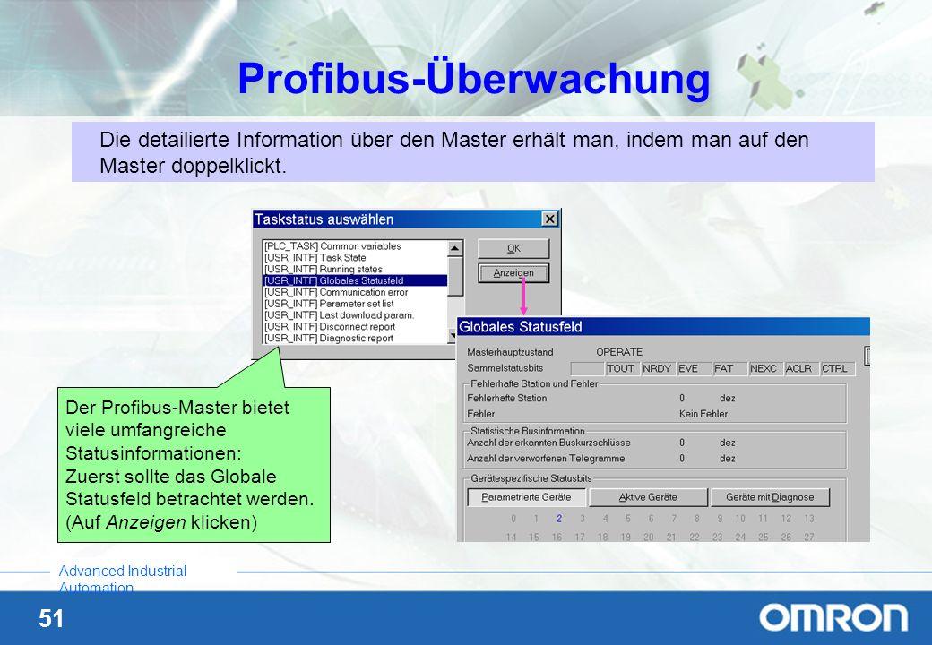 51 Advanced Industrial Automation Profibus-Überwachung Die detailierte Information über den Master erhält man, indem man auf den Master doppelklickt.