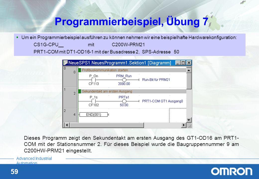 59 Advanced Industrial Automation Programmierbeispiel, Übung 7 Um ein Programmierbeispiel ausführen zu können nehmen wir eine beispielhafte Hardwareko
