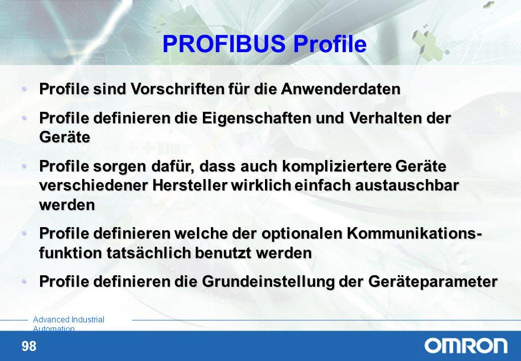 98 Advanced Industrial Automation Profile sind Vorschriften für die AnwenderdatenProfile sind Vorschriften für die Anwenderdaten Profile definieren di