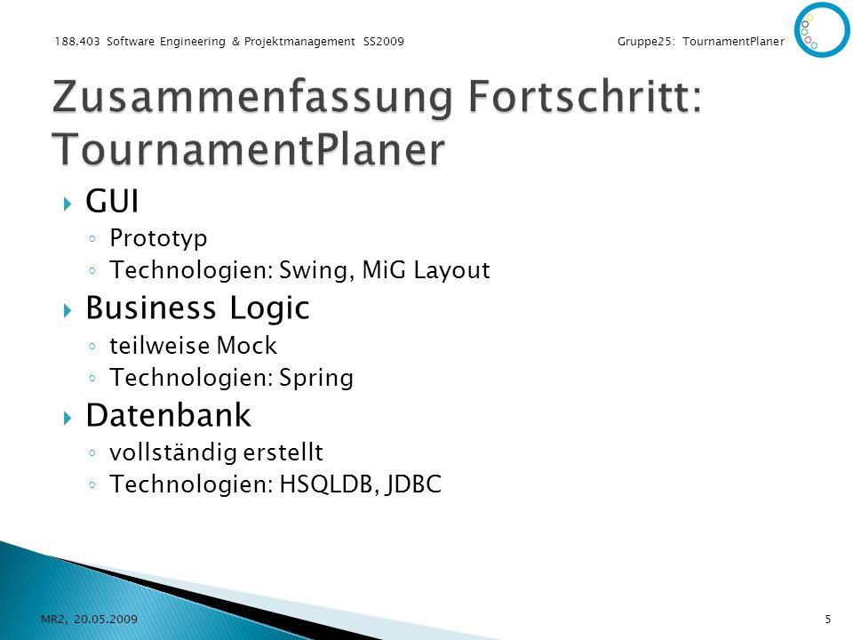 188.403 Software Engineering & Projektmanagement SS2009 Gruppe25: TournamentPlaner GUI Prototyp Technologien: Swing, MiG Layout Business Logic teilweise Mock Technologien: Spring Datenbank vollständig erstellt Technologien: HSQLDB, JDBC MR2, 20.05.20095