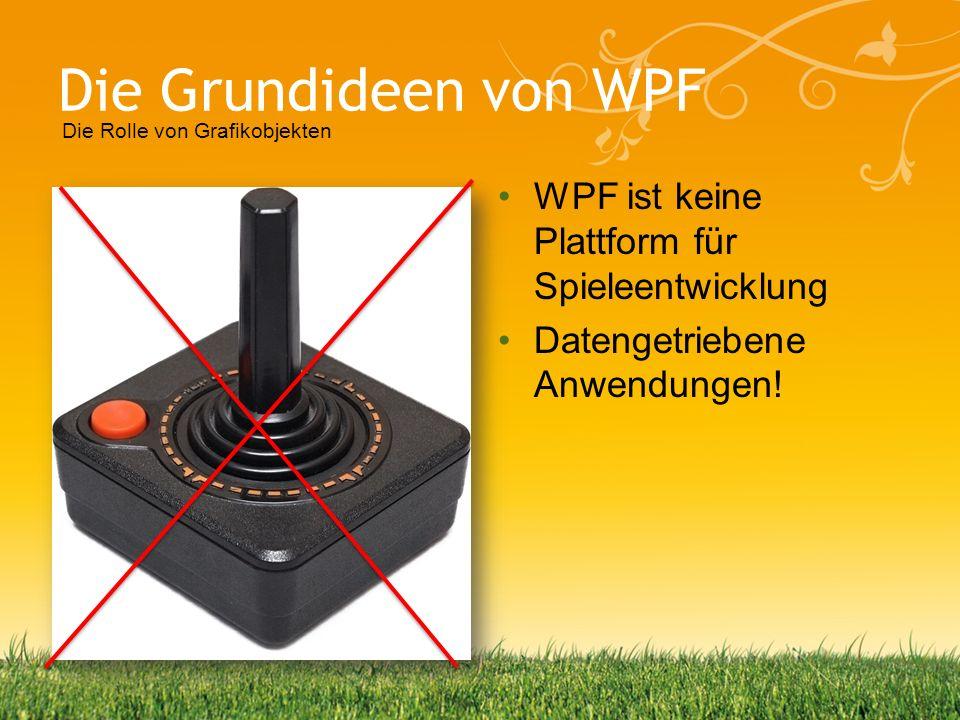 Die Grundideen von WPF WPF ist keine Plattform für Spieleentwicklung Datengetriebene Anwendungen! Die Rolle von Grafikobjekten