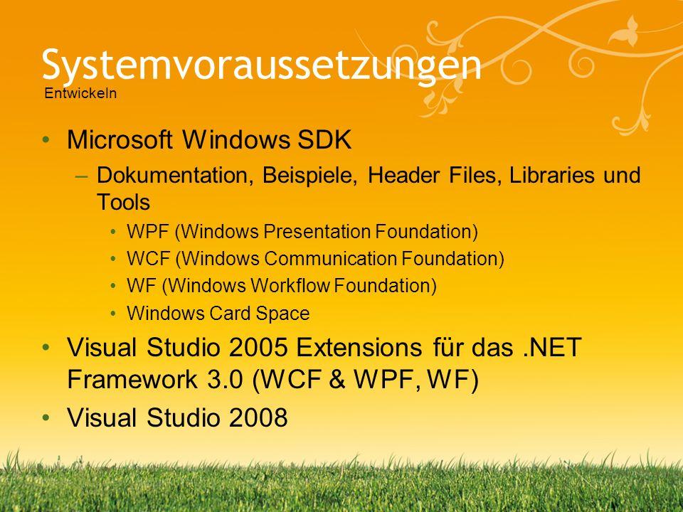 Systemvoraussetzungen Microsoft Windows SDK –Dokumentation, Beispiele, Header Files, Libraries und Tools WPF (Windows Presentation Foundation) WCF (Wi