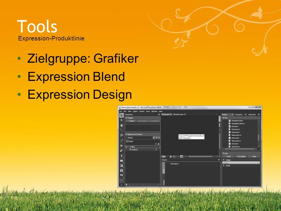 Tools Zielgruppe: Grafiker Expression Blend Expression Design Expression-Produktlinie