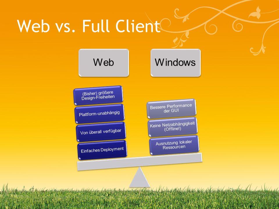 Web vs. Full Client WebWindows Einfaches DeploymentVon überall verfügbarPlattform-unabhängig (Bisher) größere Design-Freiheiten Ausnutzung lokaler Res