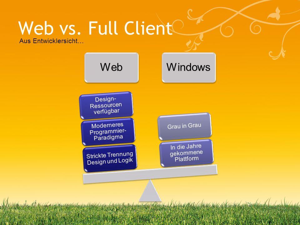 Web vs. Full Client WebWindows Strickte Trennung Design und Logik Moderneres Programmier- Paradigma Design- Ressourcen verfügbar In die Jahre gekommen