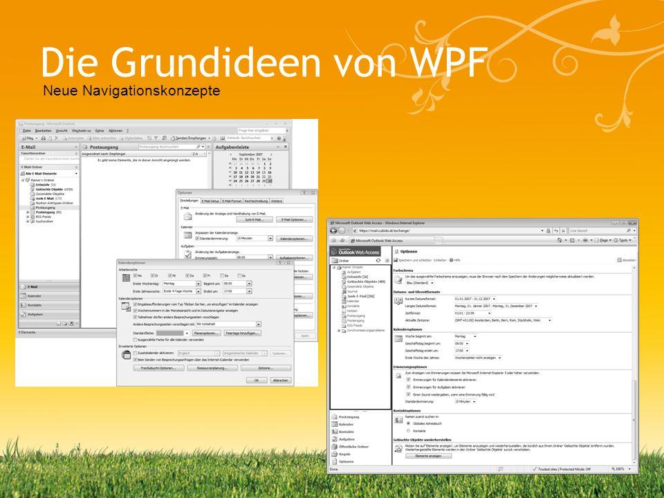 Die Grundideen von WPF Klasse Fensterlogik Browser-ähnliche Navigation –Alles in einem Fenster –Wenige Popup-Windows wo sinnvoll Mischung von Web & WPF in XBAPs –XAML Browser Applications Neue Navigationskonzepte