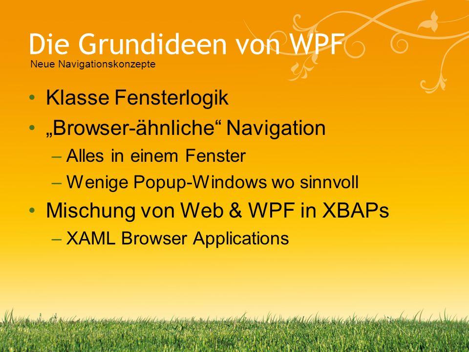 Die Grundideen von WPF Klasse Fensterlogik Browser-ähnliche Navigation –Alles in einem Fenster –Wenige Popup-Windows wo sinnvoll Mischung von Web & WP