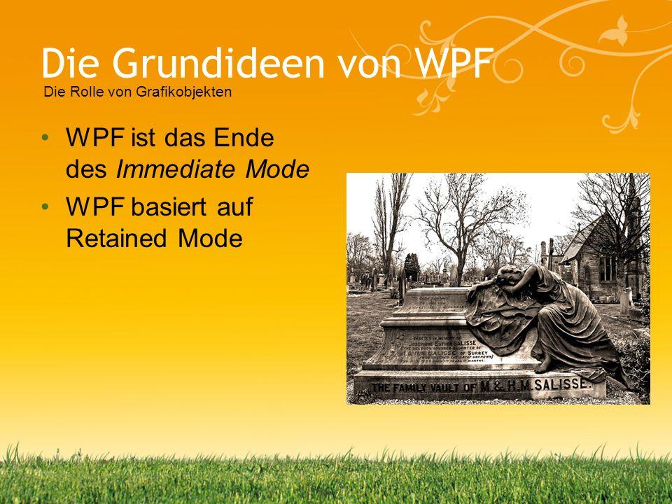 Die Grundideen von WPF WPF ist das Ende des Immediate Mode WPF basiert auf Retained Mode Die Rolle von Grafikobjekten