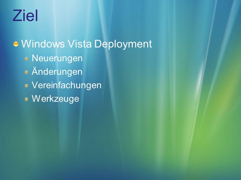 WIM Design Goals Einheitliches Format für Windows Vista Deployment Reduzierung von Speicherkapazitäten und Bandbreite Reduzierung der Anzahl von Images Eliminierung von redundanter Datenhaltung
