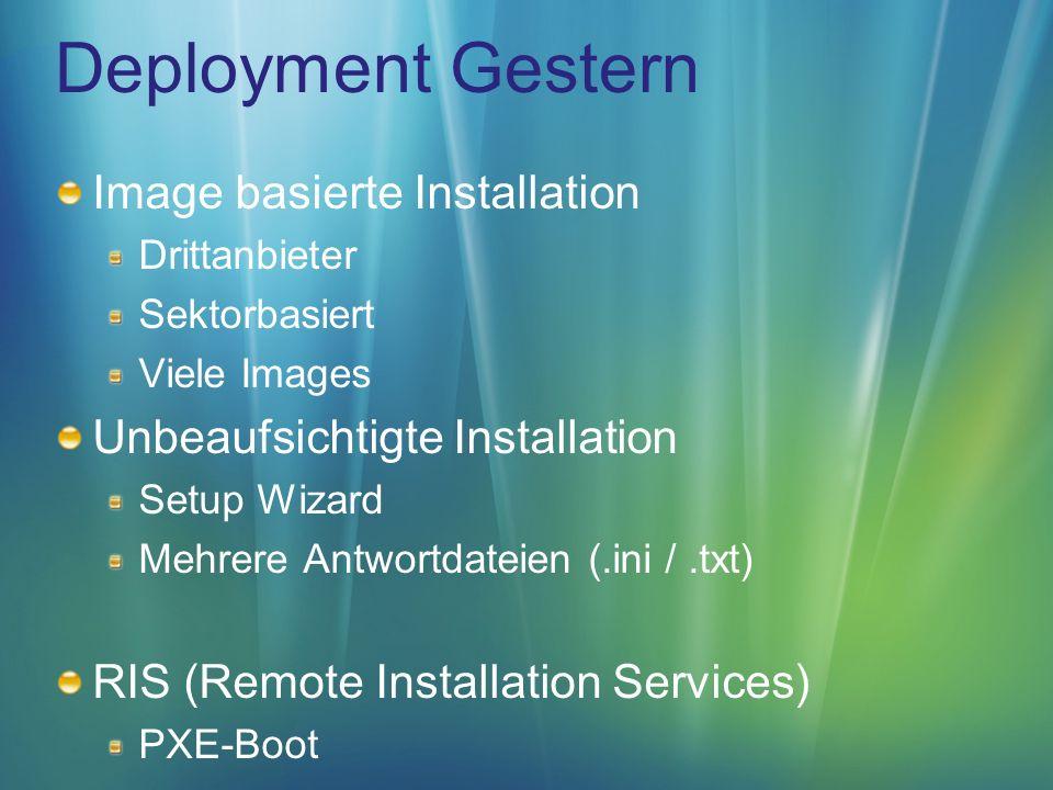 Deployment Heute Image basierte Installation Dateibasiert Hardwareunabhängig Out-of-the-Box Leichtgewichtige Images Unbeaufsichtigte Installation Windows Automated Installation Kit (WAIK) Eine XML-basierte Antwortdatei WDS (Windows Deployment Services) PXE-Boot