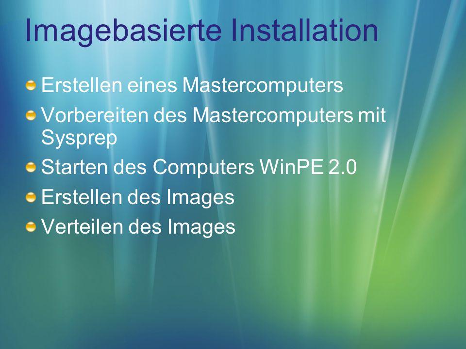 Imagebasierte Installation Erstellen eines Mastercomputers Vorbereiten des Mastercomputers mit Sysprep Starten des Computers WinPE 2.0 Erstellen des Images Verteilen des Images