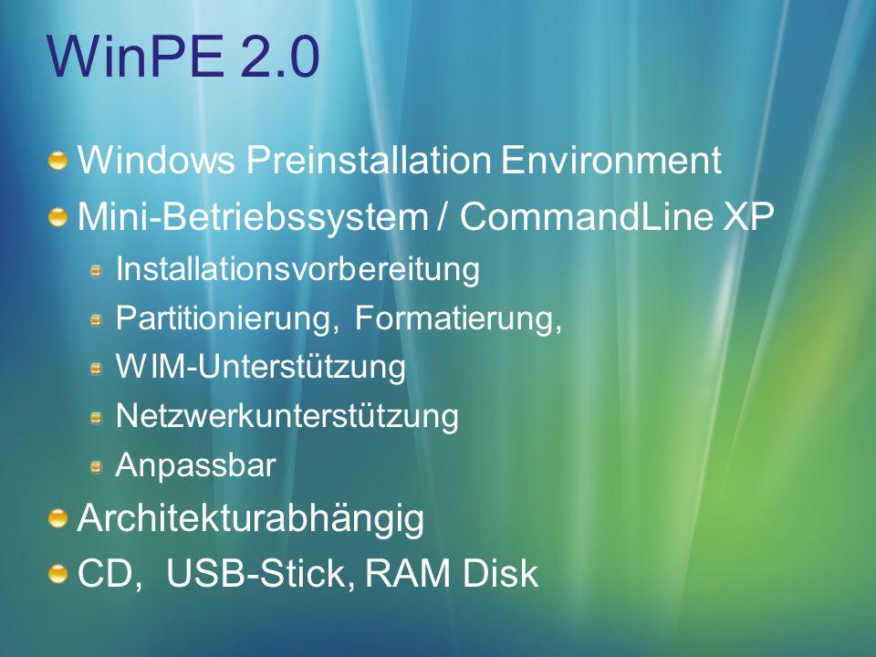 WinPE 2.0 1.CopyPE copype x86 c:\wims\pe 2.Applikation hinzufügen copy C:\Program Files\Windows AIK\Tools\x86\imagex.exe c:\wims\pe\iso