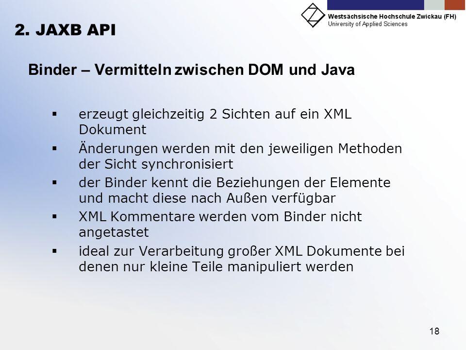 18 2. JAXB API Binder – Vermitteln zwischen DOM und Java erzeugt gleichzeitig 2 Sichten auf ein XML Dokument Änderungen werden mit den jeweiligen Meth