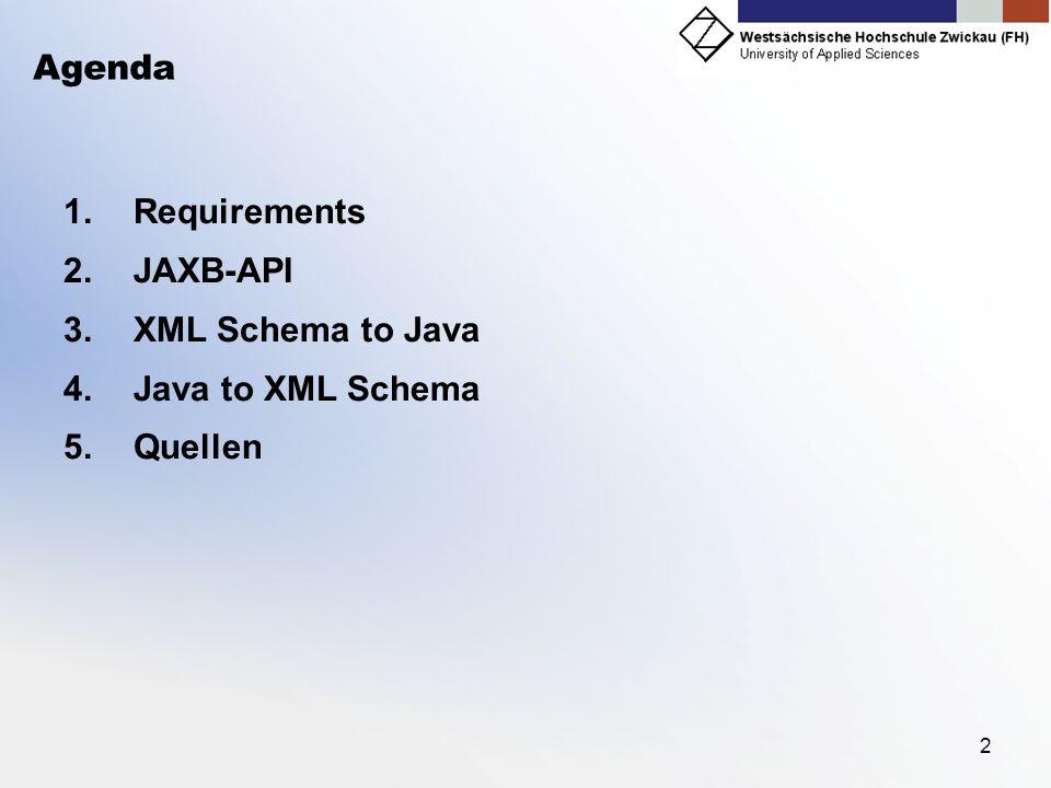 2 Agenda 1.Requirements 2.JAXB-API 3.XML Schema to Java 4.Java to XML Schema 5.Quellen