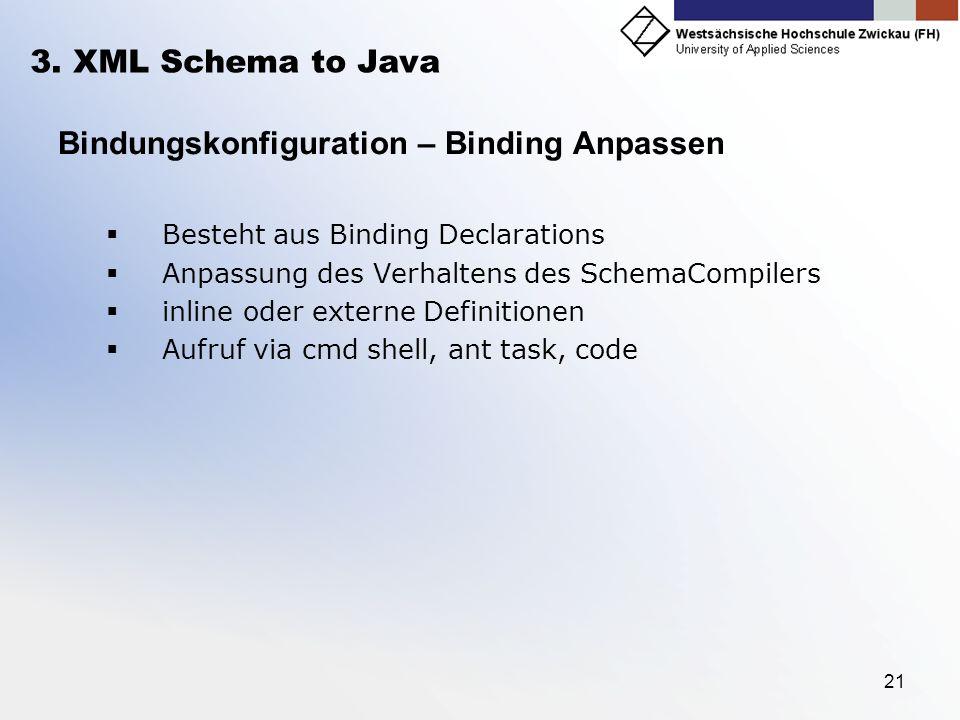 21 3. XML Schema to Java Bindungskonfiguration – Binding Anpassen Besteht aus Binding Declarations Anpassung des Verhaltens des SchemaCompilers inline