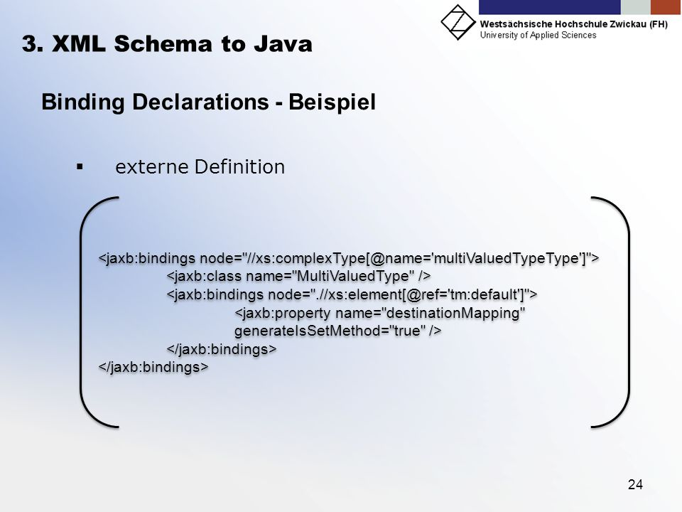 24 3. XML Schema to Java Binding Declarations - Beispiel externe Definition