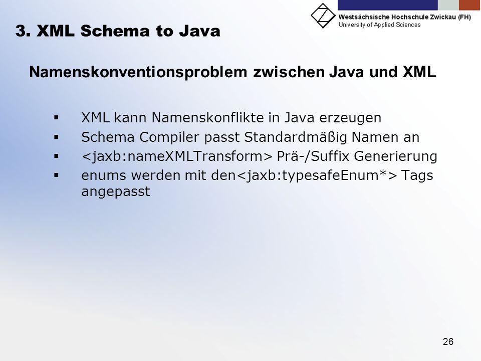 26 3. XML Schema to Java Namenskonventionsproblem zwischen Java und XML XML kann Namenskonflikte in Java erzeugen Schema Compiler passt Standardmäßig