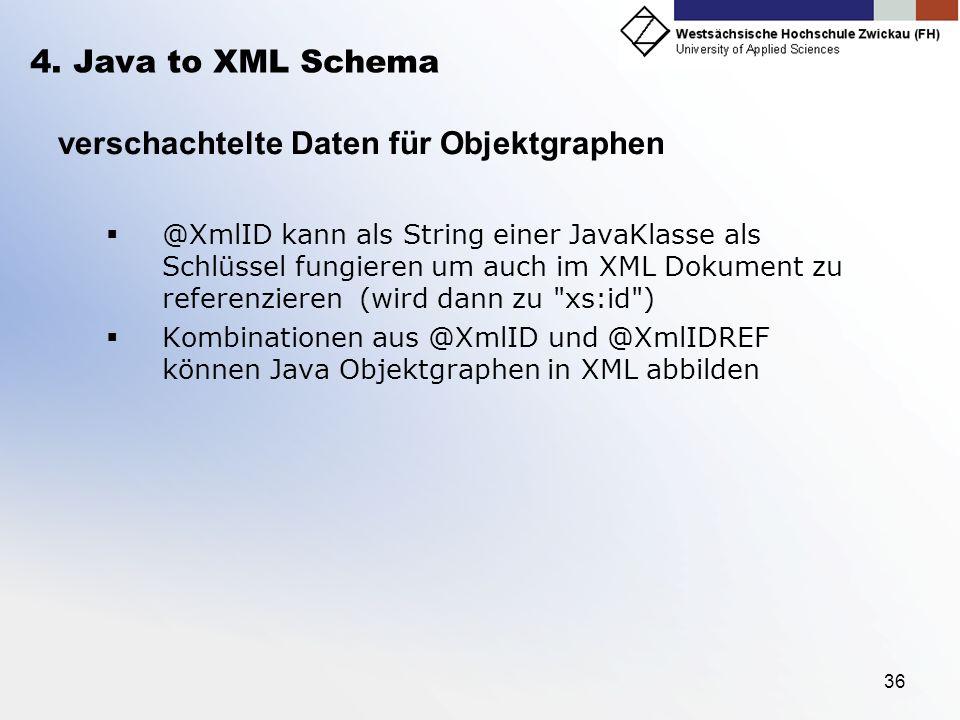 36 4. Java to XML Schema verschachtelte Daten für Objektgraphen @XmlID kann als String einer JavaKlasse als Schlüssel fungieren um auch im XML Dokumen