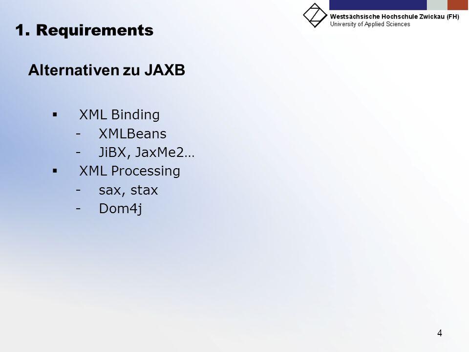 4 1. Requirements Alternativen zu JAXB XML Binding -XMLBeans -JiBX, JaxMe2… XML Processing -sax, stax -Dom4j