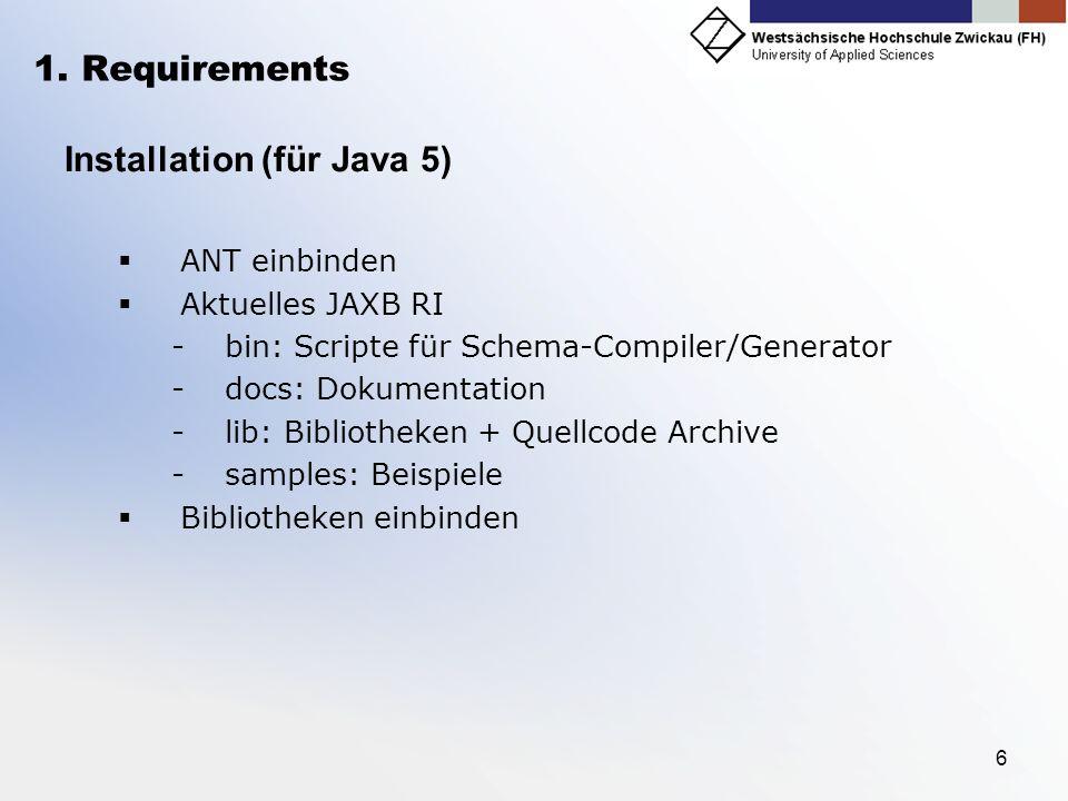 6 1. Requirements Installation (für Java 5) ANT einbinden Aktuelles JAXB RI -bin: Scripte für Schema-Compiler/Generator -docs: Dokumentation -lib: Bib