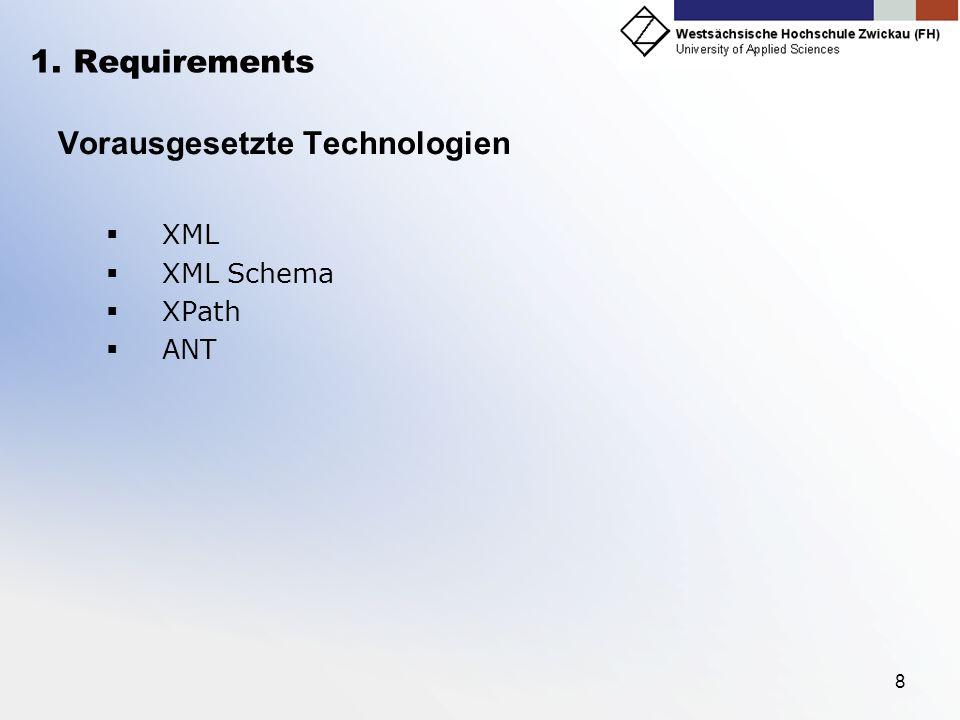 8 1. Requirements Vorausgesetzte Technologien XML XML Schema XPath ANT