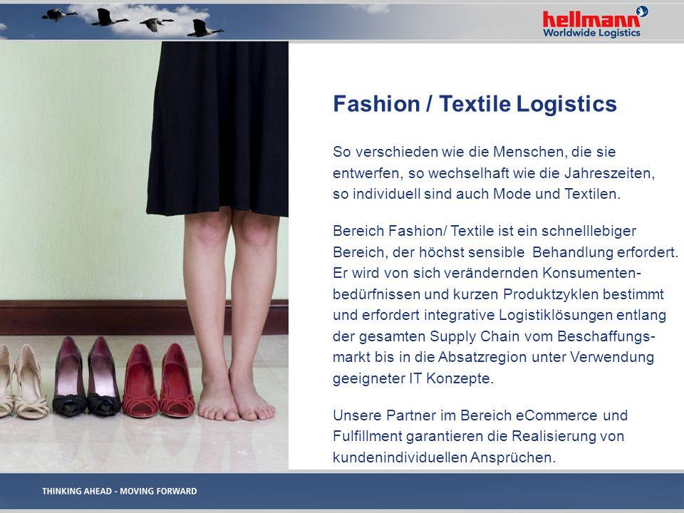 Wir bieten Ihnen: Entwicklung von Lager- und Transport- konzepten zur Erhöhung der Flexibilität in der Wertschöpfungskette und Generierung von Einsparpotentialen Unterstützung bei der Standortentscheidung und bei Fragen mit zoll- und steuerlichen Hintergründen mit unseren Consultingpartnern Analyse und Neustrukturierung globaler Warenströme Erarbeitung von Fulfillmentlösungen mit unseren Partnern Fashion / Textile Logistics