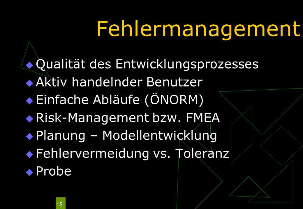 15 Fehlermanagement Qualität des Entwicklungsprozesses Aktiv handelnder Benutzer Einfache Abläufe (ÖNORM) Risk-Management bzw. FMEA Planung – Modellen