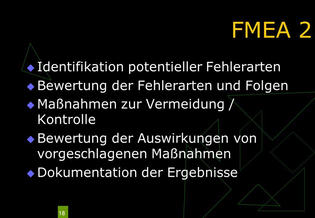 18 FMEA 2 Identifikation potentieller Fehlerarten Bewertung der Fehlerarten und Folgen Maßnahmen zur Vermeidung / Kontrolle Bewertung der Auswirkungen