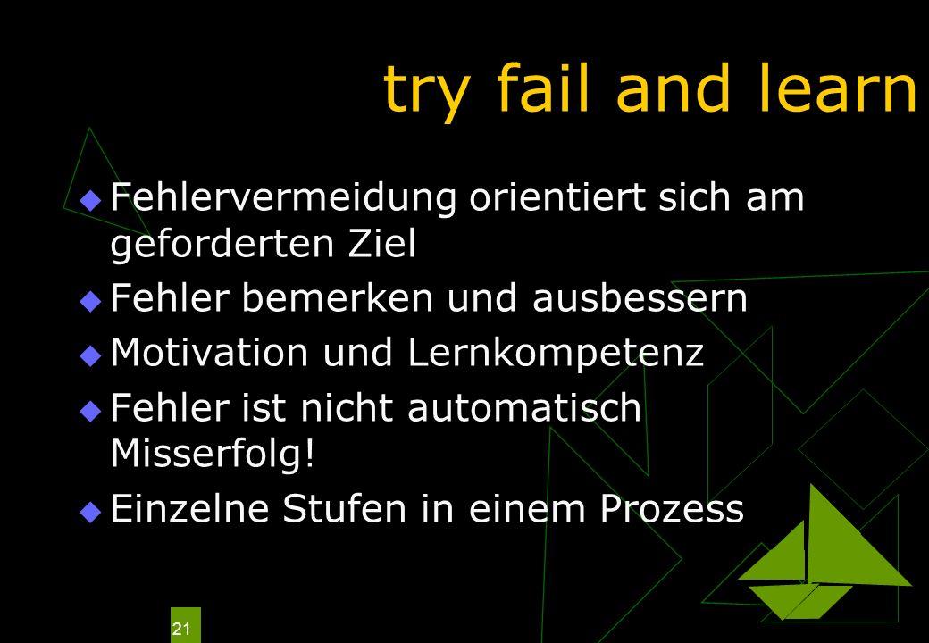 21 try fail and learn Fehlervermeidung orientiert sich am geforderten Ziel Fehler bemerken und ausbessern Motivation und Lernkompetenz Fehler ist nich
