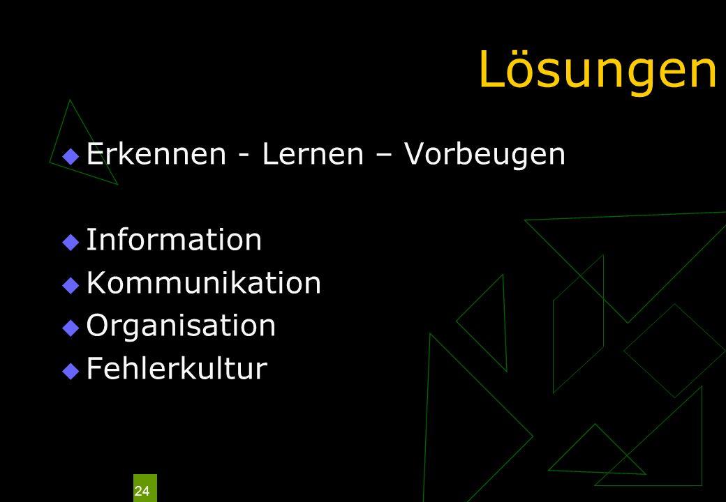 24 Lösungen Erkennen - Lernen – Vorbeugen Information Kommunikation Organisation Fehlerkultur