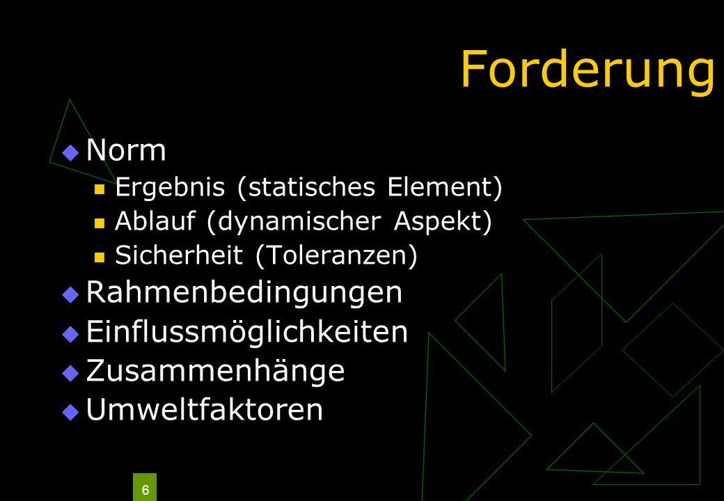 6 Forderung Norm Ergebnis (statisches Element) Ablauf (dynamischer Aspekt) Sicherheit (Toleranzen) Rahmenbedingungen Einflussmöglichkeiten Zusammenhän