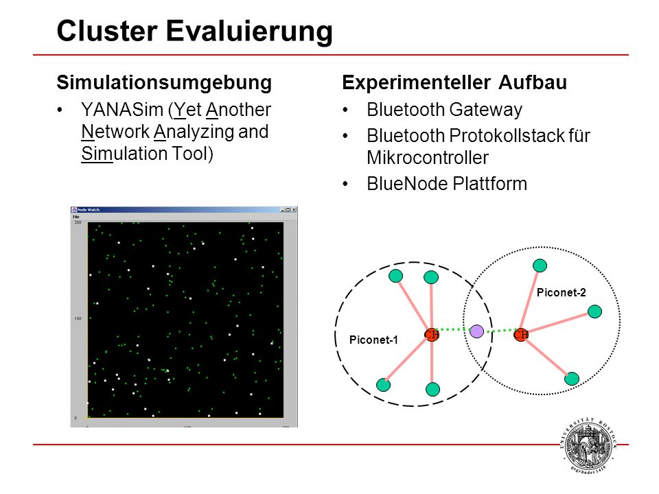 Cluster Evaluierung Simulationsumgebung YANASim (Yet Another Network Analyzing and Simulation Tool) Experimenteller Aufbau Bluetooth Gateway Bluetooth