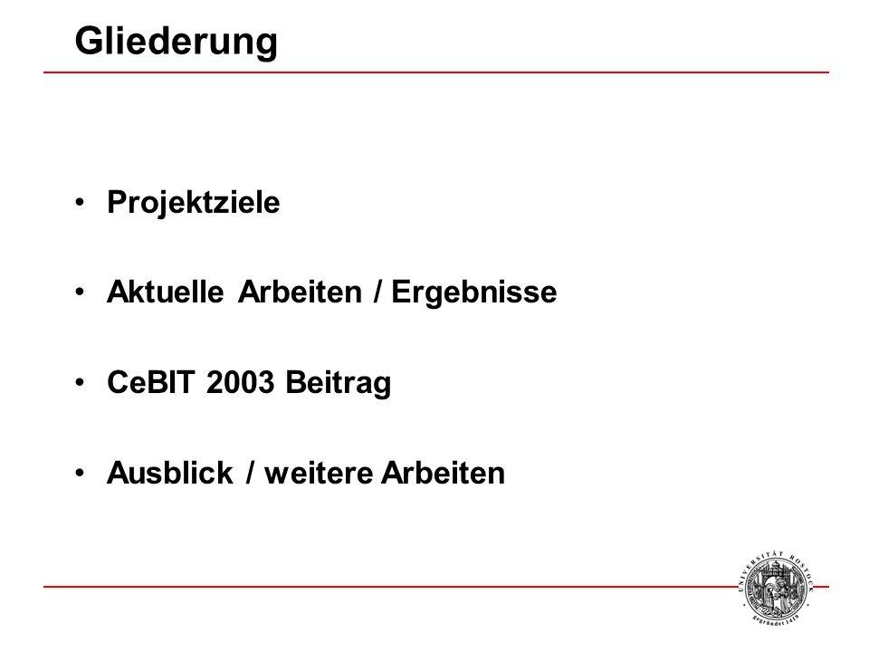 Gliederung Projektziele Aktuelle Arbeiten / Ergebnisse CeBIT 2003 Beitrag Ausblick / weitere Arbeiten
