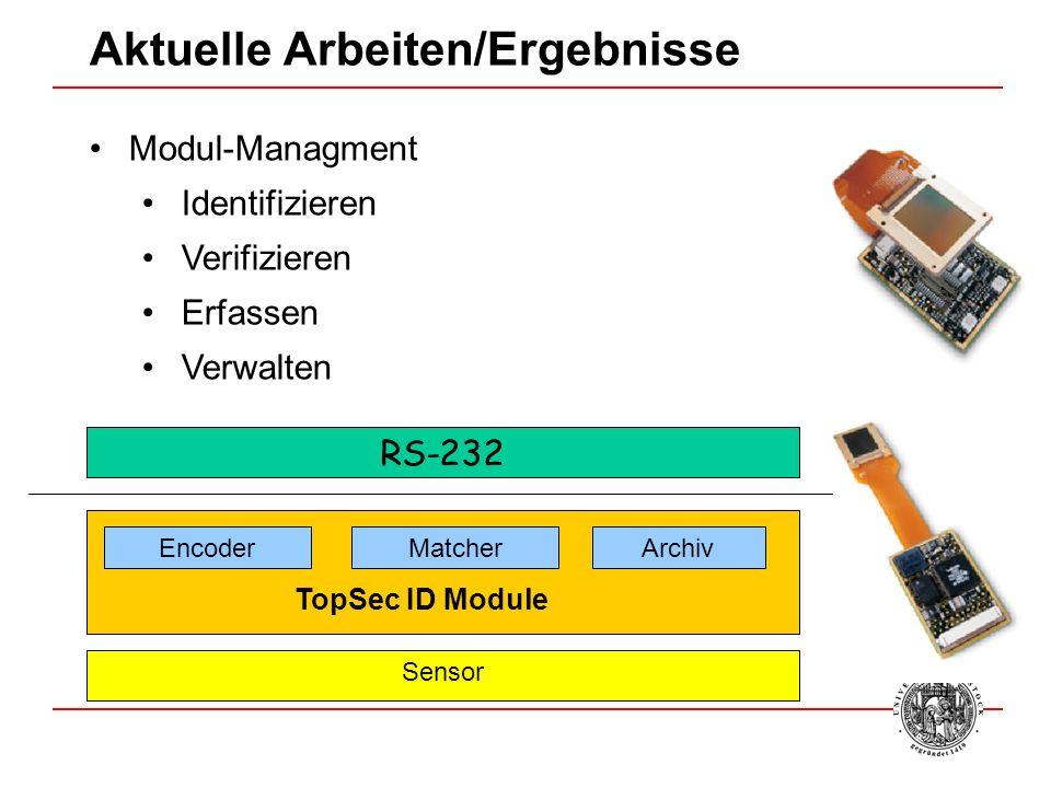 Modul-Managment Identifizieren Verifizieren Erfassen Verwalten Aktuelle Arbeiten/Ergebnisse RS-232 EncoderMatcherArchiv TopSec ID Module Sensor