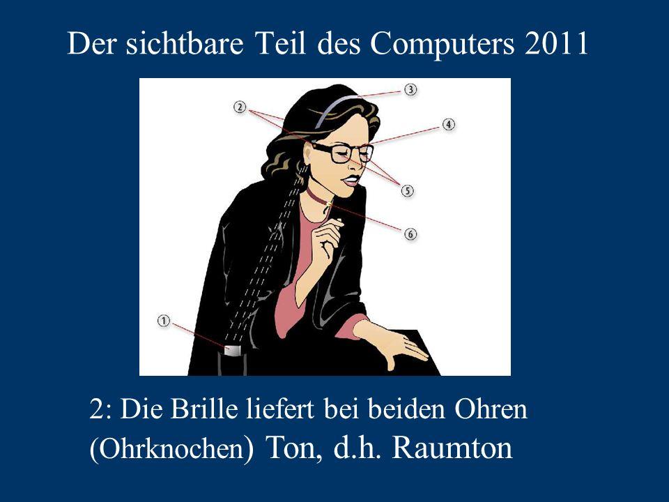 Der sichtbare Teil des Computers 2011 2: Die Brille liefert bei beiden Ohren (Ohrknochen ) Ton, d.h.