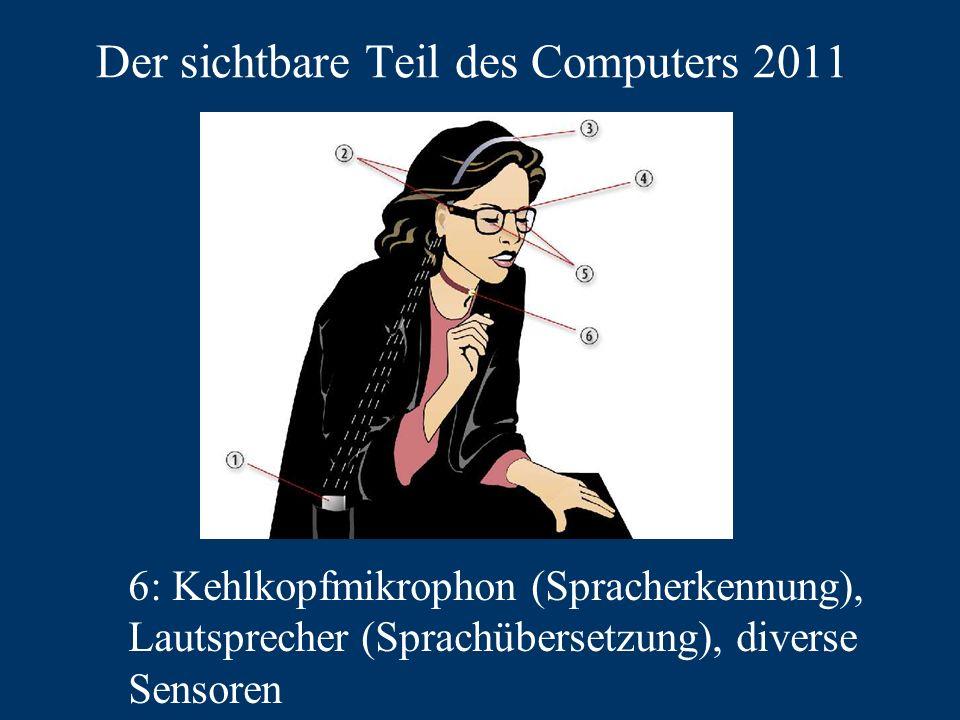 Der sichtbare Teil des Computers 2011 6: Kehlkopfmikrophon (Spracherkennung), Lautsprecher (Sprachübersetzung), diverse Sensoren