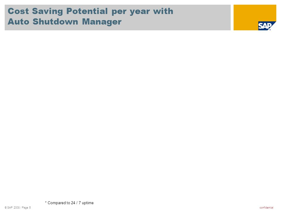confidential© SAP 2008 / Page 5 Cost Saving Potential per year with Auto Shutdown Manager * Compared to 24 / 7 uptime