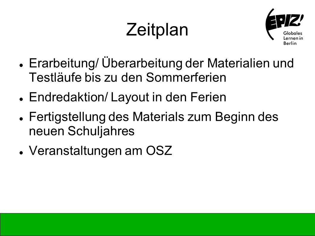 Zeitplan Erarbeitung/ Überarbeitung der Materialien und Testläufe bis zu den Sommerferien Endredaktion/ Layout in den Ferien Fertigstellung des Materi