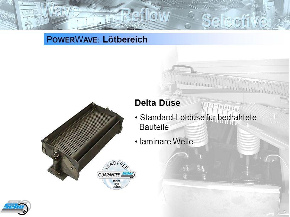 15 P OWER W AVE: Lötbereich Delta Düse Standard-Lötdüse für bedrahtete Bauteile laminare Welle