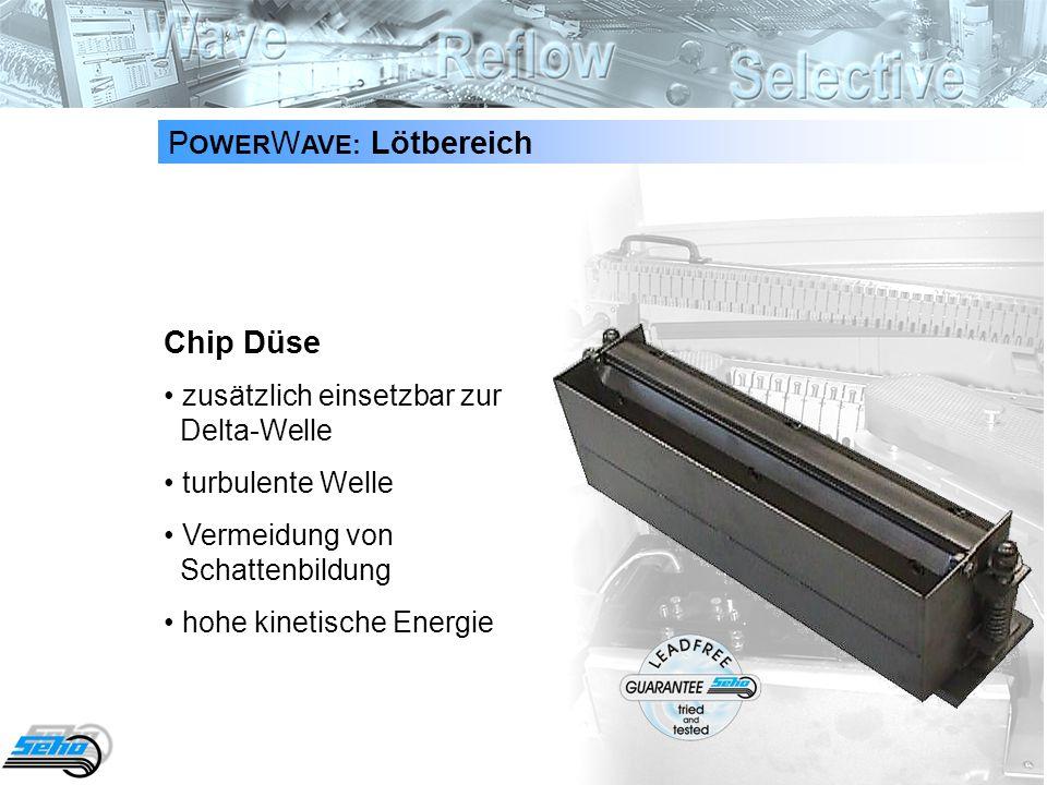 16 P OWER W AVE: Lötbereich Chip Düse zusätzlich einsetzbar zur Delta-Welle turbulente Welle Vermeidung von Schattenbildung hohe kinetische Energie