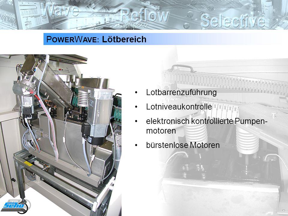 20 P OWER W AVE: Lötbereich Lotbarrenzuführung Lotniveaukontrolle elektronisch kontrollierte Pumpen- motoren bürstenlose Motoren