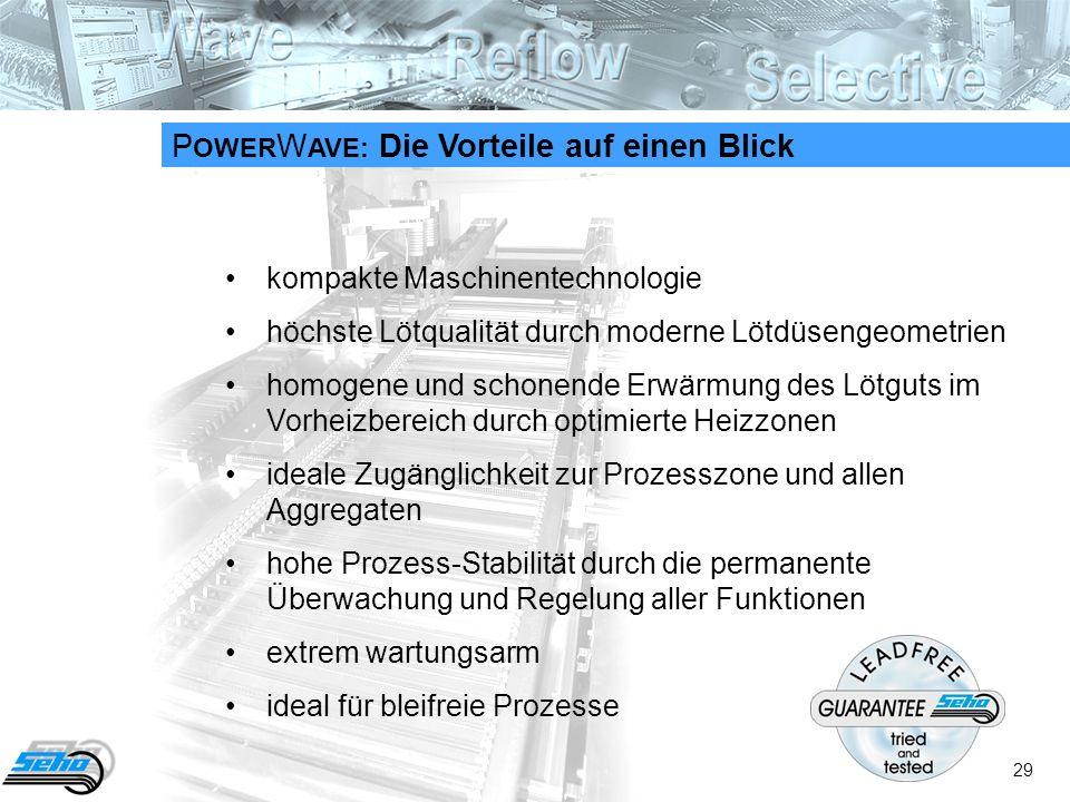 29 P OWER W AVE: Die Vorteile auf einen Blick kompakte Maschinentechnologie höchste Lötqualität durch moderne Lötdüsengeometrien homogene und schonende Erwärmung des Lötguts im Vorheizbereich durch optimierte Heizzonen ideale Zugänglichkeit zur Prozesszone und allen Aggregaten hohe Prozess-Stabilität durch die permanente Überwachung und Regelung aller Funktionen extrem wartungsarm ideal für bleifreie Prozesse