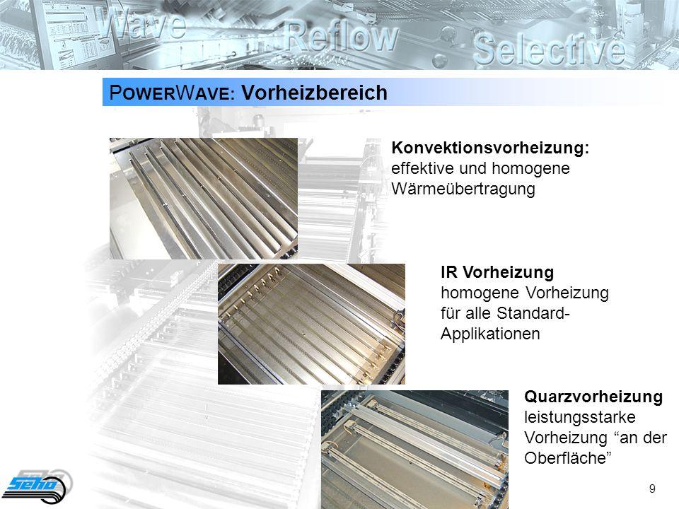 9 P OWER W AVE: Vorheizbereich Konvektionsvorheizung: effektive und homogene Wärmeübertragung IR Vorheizung homogene Vorheizung für alle Standard- Applikationen Quarzvorheizung leistungsstarke Vorheizung an der Oberfläche