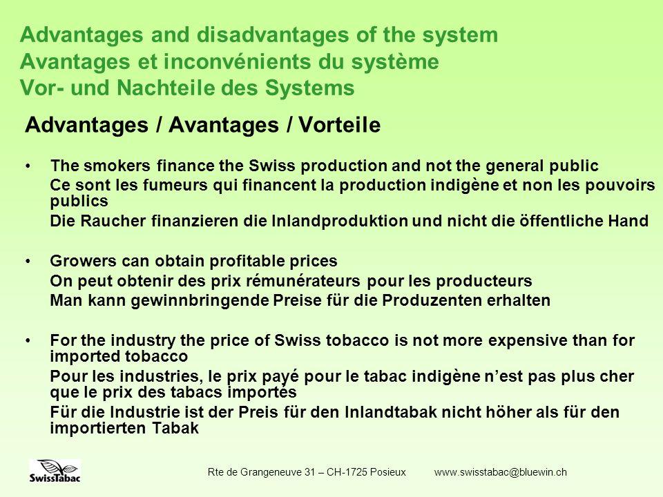 Rte de Grangeneuve 31 – CH-1725 Posieux www.swisstabac@bluewin.ch Advantages and disadvantages of the system Avantages et inconvénients du système Vor